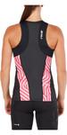 2XU Womens Perform Triathlon Singlet BLACK / ROSE PINK TIDE WT4857a