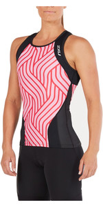 2XU Womens Perform Triathlon Singlet BLACK / ROSE PINK TIDE WT4857a
