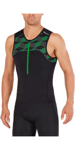 2XU Active Tri Singlet BLACK / RETRO JOLLY GREEN MT4863a