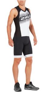2XU Compression Full Zip Sleeveless Trisuit BLACK / WHITE LOGO MT4839d