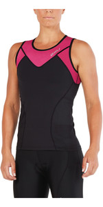 2XU Womens Active Tri Singlet BLACK / RETRO PINK PEACOCK WT4866a
