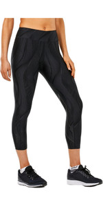 2XU Womens Mid-Rise Print 7/8 Compression Tights BLACK VERTICAL CURVE WA4629b