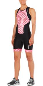2XU Womens Perform Front Zip Trisuit BLACK / ROSE PINK TIDE WT4855d