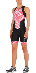 2XU Womens Perform Front Zip Trisuit BLACK / ROSE PINK TIDE WT4855d