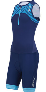 2019 2XU Junior Active Half Zip Trisuit Navy / Aeroblue Lapis Print CT5543d