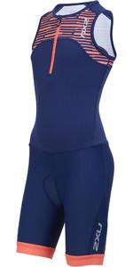 2019 2XU Junior Active Half Zip Trisuit Navy / Sherbert Print CT5543d
