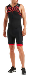 2019 2XU Mens Active Half Zip Trisuit Black / Flame Scarlet MT5540d