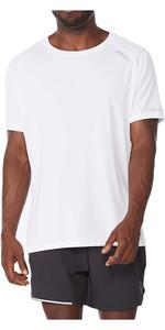 2021 2XU Mens Aero Short Sleeve Tee MR6557a - White / Silver Reflective