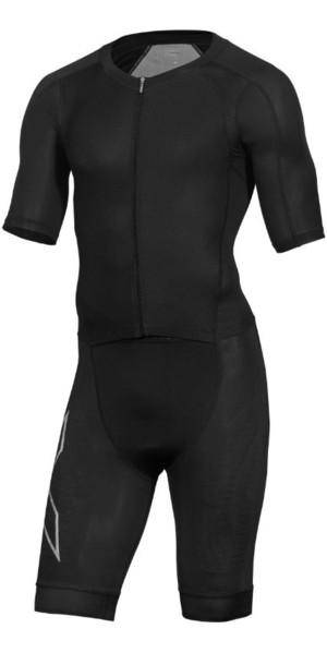 2019 2XU Mens Compression Full Zip Short Sleeve Trisuit Black MT5516d