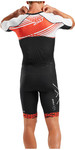 2019 2XU Mens Compression Full Zip Short Sleeve Trisuit Black / White Flame MT5516d