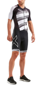 2019 2XU Mens Compression Full Zip Short Sleeve Trisuit Black / White Lines MT5516d