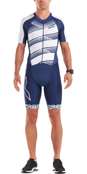 2019 2XU Mens Compression Full Zip Short Sleeve Trisuit Navy / White Line MT5516d