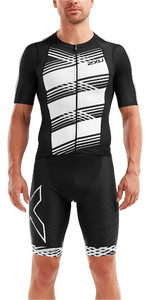 2019 2XU Mens Compression Short Sleeve Top Black / White Lines MT5518a