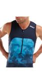 2021 2XU Mens Mens Active Half Zip Trisuit MT5540D - Midnight / Blue Terrain
