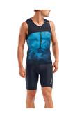 2020 2XU Mens Mens Active Tri Singlet / Vest MT5541A - Midnight / Blue Terrain