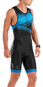 2019 2XU Mens Perform Front Zip Sleeveless Trisuit Black / Signal Blue MT5526d