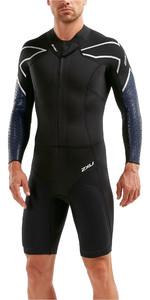 2019 2XU Mens Pro Swim-Run SR1 Wetsuit Black / Blue Surf Print MW5479c