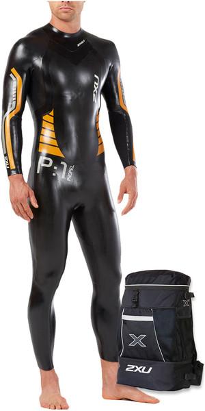 2018 2XU P:1 Propel Triathlon Wetsuit BLACK / FLAME ORANGE MW4991c & Transition Back Pack