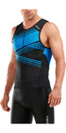 2019 2XU Mens Perform Tri Singlet Black / Signal Blue MT5530a