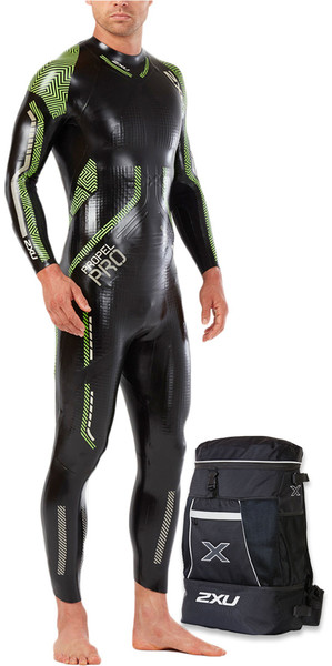 2018 2XU Propel Pro Triathlon Wetsuit BLACK / NEON GREEN GECKO MW5124c & FREE Transition Back Pack