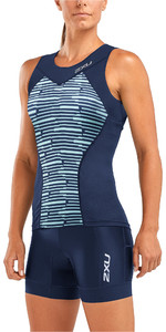 2019 2XU Womens Active Tri Singlet Navy / Aquasplash WT5547a