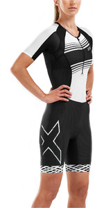 2019 2XU Womens Compression Full Zip Short Sleeve Trisuit Black / White Lines WT5521d