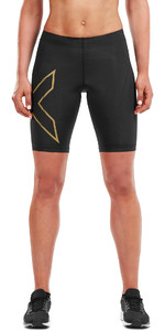 2019 2XU Womens MCS Run Shorts Black / Gold WA5334b