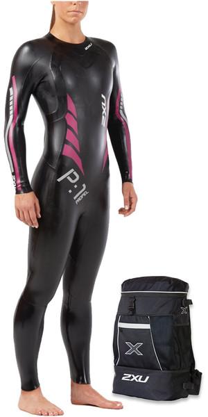 2018 2XU Womens P:1 Propel Triathlon Wetsuit BLACK / PINK PEACOCK WW4994c + FREE TRANSITION BACK PACK