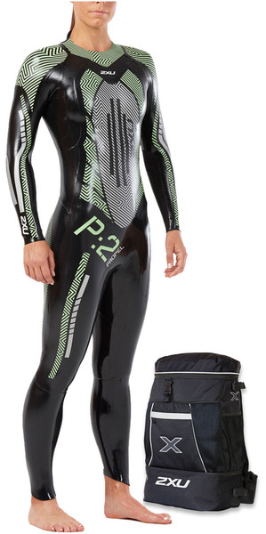 2018 2XU Womens P:2 Propel Triathlon Wetsuit BLACK / MINT GREEN WW4993c & Free Transition Back Pack