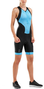 2019 2XU Womens Perform Front Zip Sleeveless Trisuit Black / Aquarius WT5533d