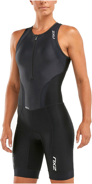 2018 2XU Womens Perform Front Zip Trisuit BLACK WT4855d