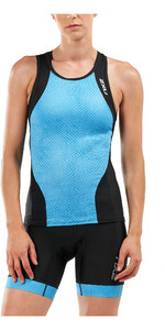 2019 2XU Womens Perform Tri Singlet Black / Aquarius Mesh WT5536a