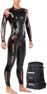 2XU Womens Propel Pro Triathlon Wetsuit BLACK / NEON MELON WW5125 & TRANSITION BACK PACK