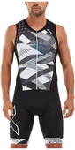 2020 2XU Mens Compression Full Zip Sleeveless Trisuit MT5517D - Black / Chroma
