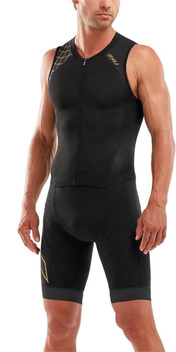 2021 2XU Mens Compression Full Zip Sleeveless Trisuit MT5517D - Black / Gold