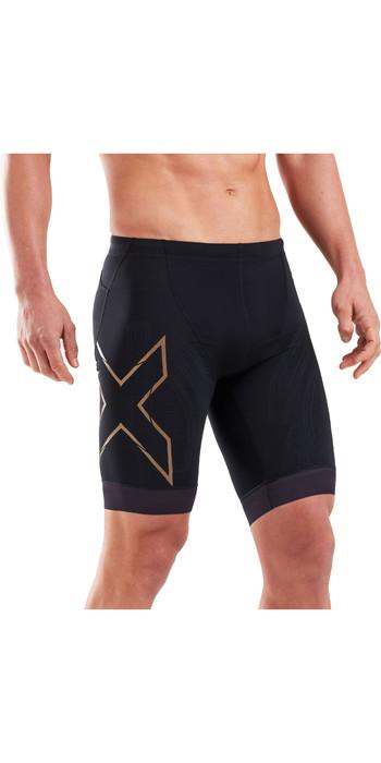 2021 2XU Mens Compression Tri Shorts MT5520B - Black / Gold