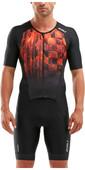 2020 2XU Mens Perform Full Zip Short Sleeve Trisuit MT5525D - Black / Flame Ombre