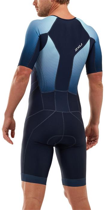 2020 2XU Mens Perform Full Zip Short Sleeve Trisuit MT5525D - Midnight / Fresh Ombre