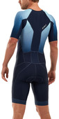 2020 2XU Mens Perform Full Zip Short Sleeve Trisuit MT5525D - Midnight / Fresh Ombre
