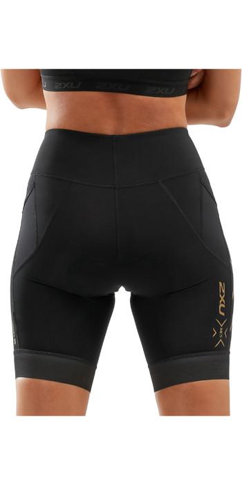 2020 2XU Womens Compression Tri Shorts WT5524B - Black / Gold