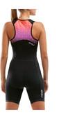 2021 2XU Womens Active Half Zip Trisuit WT5546D - Black / Sunset Ombre
