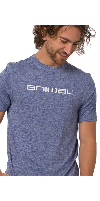 2020 Animal Mens Latero Short Sleeved Rash Tee CL0SS012 - Opulence Blue Marl