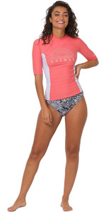 2020 Animal Womens Vickie Short Sleeved Rash Vest CL0SS320 - Rouge Red