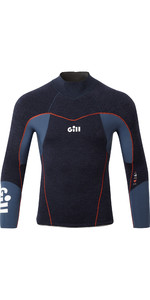 2021 Gill Mens Race Firecell 3.5mm Neoprene Top RS17 - Dark Denim / Orange