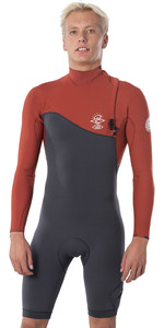 2020 Rip Curl Mens E-Bomb 2mm Long Sleeve Zipperless Shorty Wetsuit WSM8ME - Terracotta
