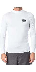 2020 Rip Curl Mens Corpo Long Sleeve UV Tee Rash Vest WLE8QM - White