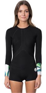 2020 Rip Curl Womens G-Bomb 1mm Madi Boyleg Long Sleeve Shorty Wetsuit WSP9CW - Black / White