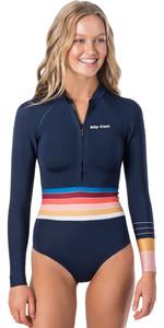 2020 Rip Curl Womens G-Bomb 1mm Front Zip Long Sleeve Shorty Wetsuit WSP9UW - Stripe