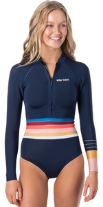 2020 Rip Curl Womens G-Bomb 1mm Front Zip Long Sleeve Shorty Wetsuit WSP9UW - Stripe