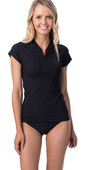 2020 Rip Curl Womens Premium Rib Front Zip Cap Sleeve UV Surf Top WLY9AW - Black